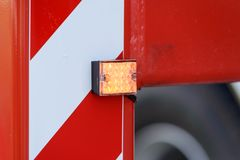 Orange lights and sirens on fire trucks. Close up of orange lights and sirens on fire trucks - Detail of a fire truck Royalty Free Stock Images