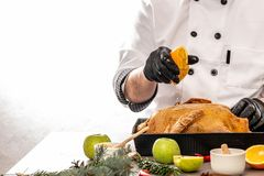 Close up of orange splash in chef hand under duck stuffed with apples on kitchen table white background. copy text stock photography