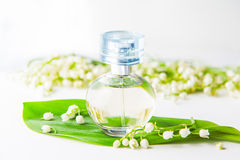 Close up Orbicular perfume bottle surrounded by fresh lilies of the valley, may-lily flowers and green leaf on the white backgroun Royalty Free Stock Photo