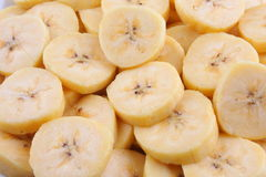 Close up of Organic Banana slices. Organic Banana slices on plate Royalty Free Stock Photos