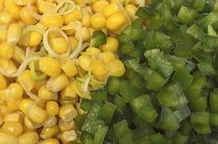 Close up organic corn and pepper. Stock Photos