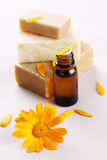 Close-up of organic oil and soap Royalty Free Stock Photography
