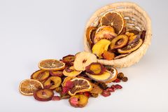Close Up Of Organic Raw Sun Dried Fruits Pouring From Basket Mix royalty free stock image