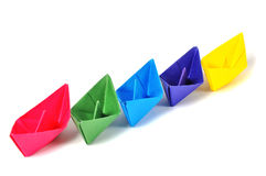 Close up origami ship Stock Image