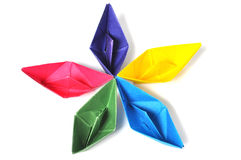 Close up origami ship Royalty Free Stock Image