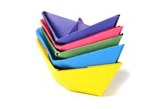 Close up origami ship Stock Photo