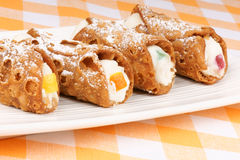Close-up of original mini sicilian cannoli Royalty Free Stock Photos