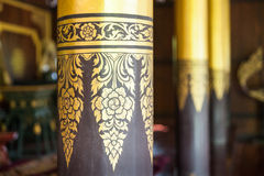 Close-up Ornate pillar in Lanna temple Royalty Free Stock Images