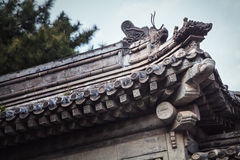 Close-up of ornate roof tiles on Chinese building. Royalty Free Stock Photos