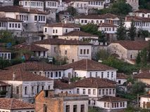 Close Up of Ottoman Buildings with Multiple Windows in Berat Albania