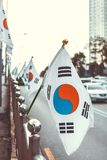 Close up ourdoors shot of South Korean flag on a flagpole made in Seoul royalty free stock photos