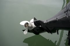Close Up Of Outboard Motor Propeller. stock photography
