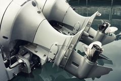 Close up of outboat engine propeller Stock Photo