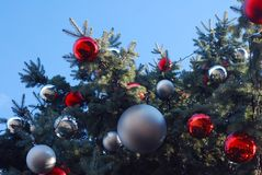 Close-up of outdoor city Christmas Tree with red globes on Blue Sky stock photos