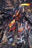 Close up of an outdoor fire burning Stock Photos