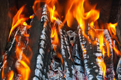 Close up of an outdoor fire burning Royalty Free Stock Images