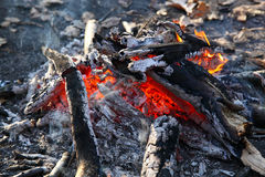 Close up of an outdoor fire burning Stock Image