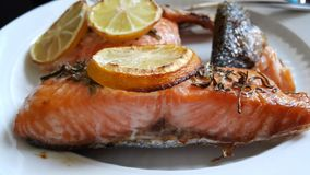 Close-up Oven-Baked Pink Salmon Royalty Free Stock Photo