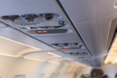 Close up of overhead console in the passenger aircraft Royalty Free Stock Photography