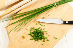 Close Up Overhead View of Chives Royalty Free Stock Photography