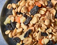 Trail mix closeup. Close up overhead view of a dish of trail mix Royalty Free Stock Images