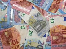 Close up overhead view of Euro currency banknotes. Various denominations of European notes. stock photos