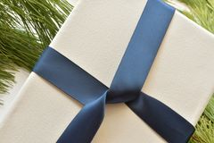 Close up of white canvas wrapped in navy blue ribbon, on pine needles. Studio shot royalty free stock photo