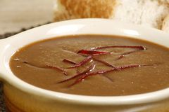 Close up oxtail soup. Close up of hot oxtail soup with garnish Stock Photo