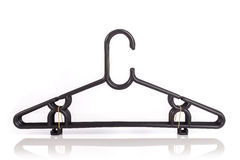 Close up pack of new black clothes hanger isolated on white Royalty Free Stock Images