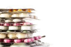 Close-up of packages of color drugs Stock Photo