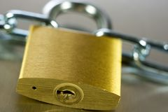 Close-up of Padlock with Chain Royalty Free Stock Image