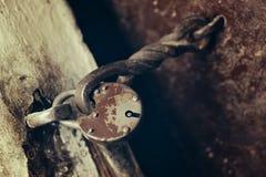Close up of padlock. And old metal hasp Royalty Free Stock Photos