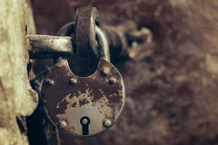 Close up of padlock. And old metal hasp Royalty Free Stock Photo