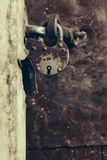 Close up of padlock. And old metal hasp Royalty Free Stock Images