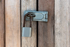 Close up of padlock and old metal hasp Stock Photos
