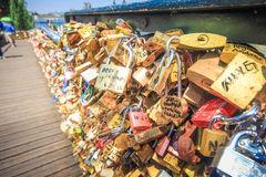 Close up of the padlocks on the Pont de l'Archeveche Royalty Free Stock Photo