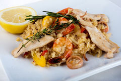 Close-up of Paella - spanish dish with sea food Stock Photography