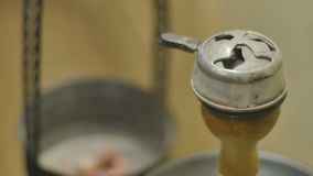 Close-up - the pail with sizzling hot coals and kaloud stock video footage