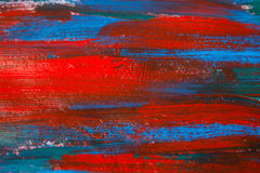 Close up of paint background with blue and red strokes Stock Photos