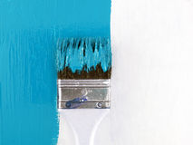 Free Close-up Paint Brush Painting Light Blue Color On White Wooden Wall Royalty Free Stock Photo - 58896415
