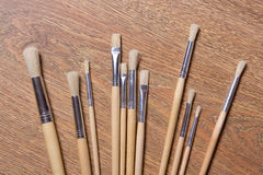 Close up of paint brushes set on the table Royalty Free Stock Photos