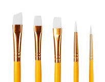 Close up of paint brushes on white background Royalty Free Stock Photos