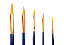Close up of paint brushes on white background Royalty Free Stock Photography