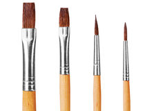 Close up of paint brushes on white background Stock Image