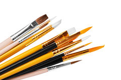 Close up of paint brushes on white background Royalty Free Stock Photo
