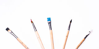 Close up of paint brushes on white background Stock Photography