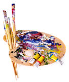 Close up of  paint mixed on  palette. Stock Images
