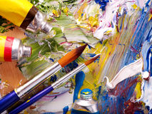 Close up of  paint mixed on  palette. Royalty Free Stock Image