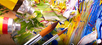 Close up of  paint mixed on  palette. Royalty Free Stock Images