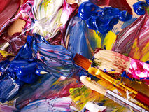 Close up of  paint mixed on  palette. Royalty Free Stock Photography